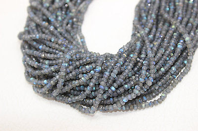 """Labradorite Natural Roundel Faceted Beads , 13"""" Inches, size is 3.5-4 mm"""