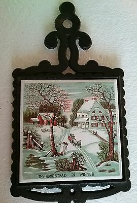"""Vintage Iron & Ceramic Currier & Ives Trivet/Hot plate"""" The Homestead in Winter"""""""
