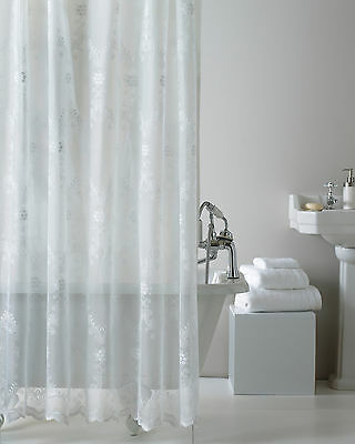 Country Club Lace Shower Curtain White 180cm x 180cm c/w Rings PEVA Lining New
