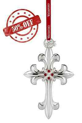 NEW! Waterford Crystal Silver Cross Christmas Ornament - 2016