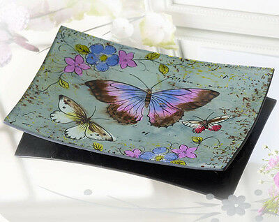 lavender purple painted butterfly design decorative glass trinket pin plate dish