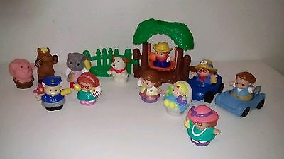 Fisher Price Little People Baby Cars animals & Little People x 11 & Tree Swing