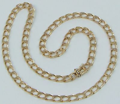 Solid 9Carat 9ct Yellow Gold Square Curb Linked Chain Necklace 20.00 Inches