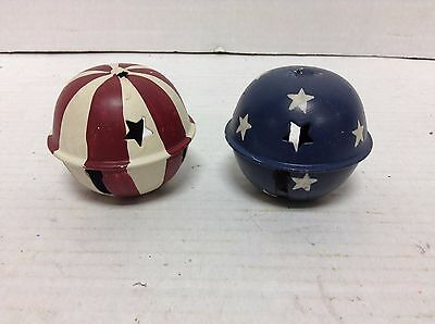 2 Rustic Patriotic red white blue country metal Christmas Jingle bells ornaments