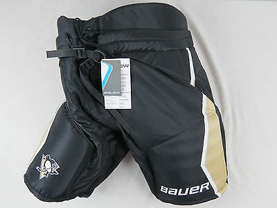 """New! Bauer Supreme Pittsburgh Penguins NHL Pro Stock Hockey Player Pants L +1"""""""