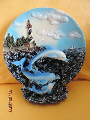 """Dolphin Family/Lighthouse 3-D Plate(sits)-8"""""""
