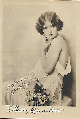 Original Clara Bow vintage matte-finish hand-signed 5x7 photo - 1920's