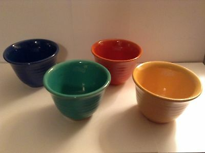 """Art Deco Bauer Pottery """"Ring Ware"""" Custard Cups / Set of 4 / 1930's"""
