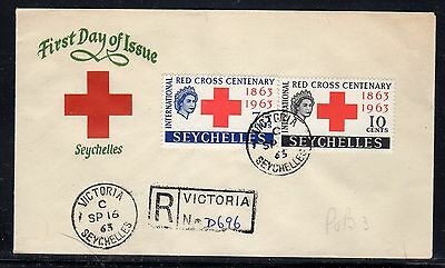 Seychelles 1963 Red Cross FDC Registered Local Use a970
