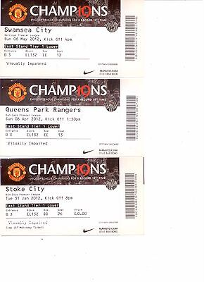 2011/12 - 3 Manchester United Home Ticket Stubs
