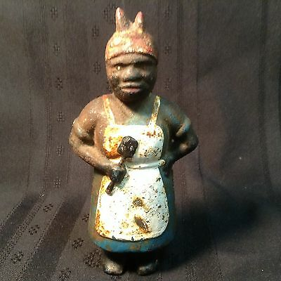 Antique Black Mammy coin bank; cast iron; circa 1920's, excessive rusting