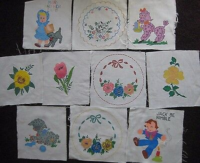 """10 Tri Chem 8X8"""" Cotton Quilt Squares Completed Nursery Flowers Rhymes"""