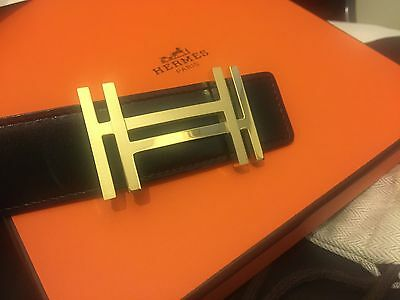 NEW Authentic Buckle HERMES 32mm Model Double H Gold  + dust bag H