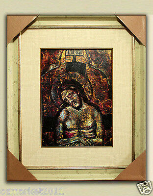 Catholic Church Portrait Jesus Cross Christian Blessed Cloth Delicate Frame G