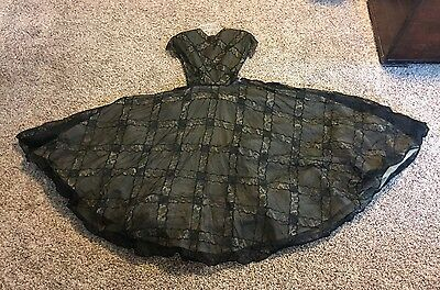 Rare VTG Custom Couture Black Illusion Chantilly Lace Dress 50's XS/S