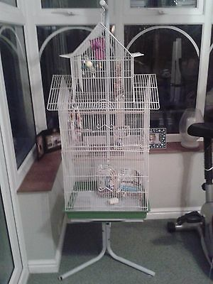 Extra Large Bird Cage And C7 Stand All White