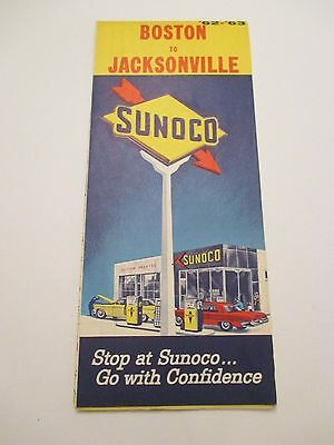 Vintage 1962-1963 SUNOCO Boston to Jacksonville Gas Service Station Road Map