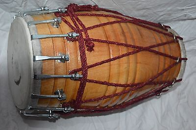 New Mango Wood Dholak 18 Inch Length & 34 Inch Base Fit With Leather Skin W/bag