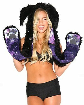 iHeartRaves Rabbit Violet Sky Rave Spirit Animal Furry Hood