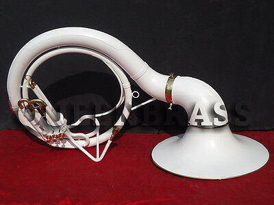 "New Wow Sousaphone Tuba_White Colored 25'' Bell_Bb Pitch ""w/bag&mp Brassitem"