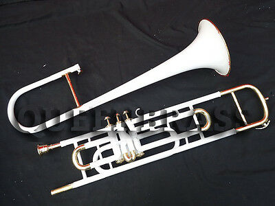 TROMBONE-VALVE-BB-PITCH-Beginner-COME-WITH-MP(HARDCASE)WHITE PAINTED BRASS