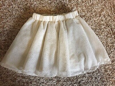 Old Navy Toddler Girl Cream And Gold Sparkle Skirt 3t Euc