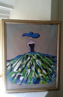 """Oil painting 16""""x20"""" lady in hat"""