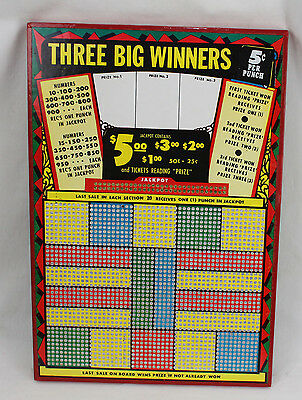 Vintage Unpunched Gambling Punch Board Trade Stimulator 3 Big Winners JUST OPEN