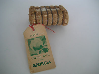 TRAVEL SOUVENIR cotton bale with Tag GEORGIA great learning tool Show & Tell