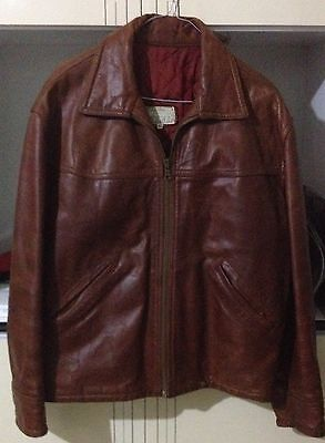 Giubbino PELLE Vintage Made in Italy Giacca Marrone Retro Leather Jacket Tg. 46