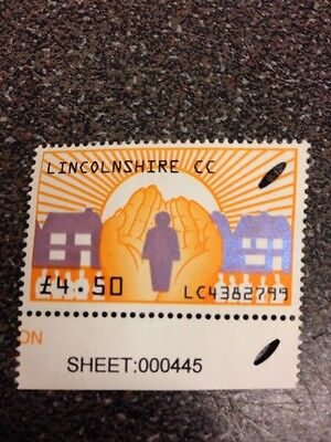 stamp Lincolnshire £4.50  ( Used clear )