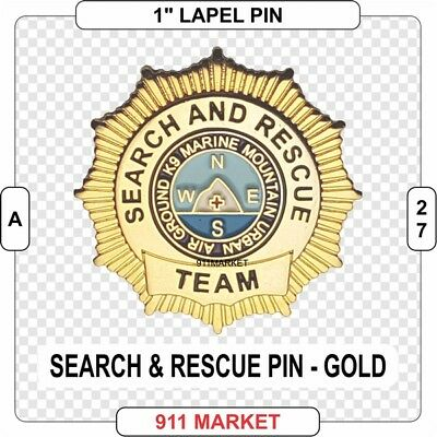Search & Rescue Lapel Pin Gold SAR and Marine Water K9 Urban Air Ground FD - A27