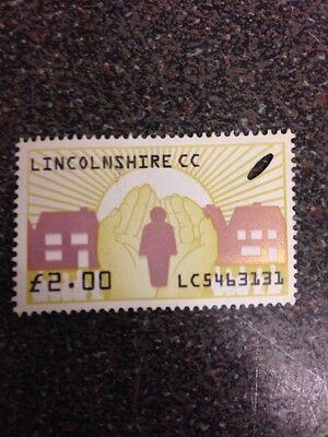 stamp Lincolnshire £2  ( Used clear )