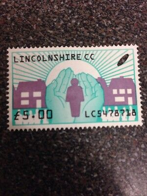 stamp Lincolnshire £5  ( Used clear )