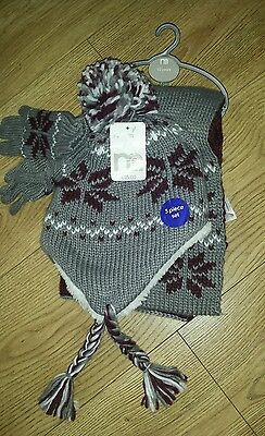 Mothercare Unisex Kids hat/scarf/gloves set 1-3 years NEW 3 piece set
