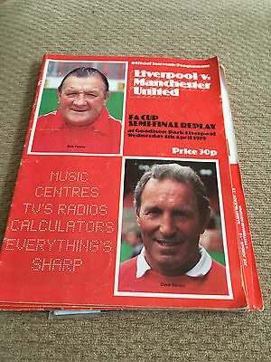 1979 FA Cup semi Final 2nd replay, Manchester United V Liverpool