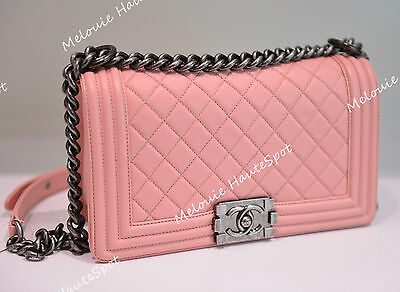526194e2 Auth Chanel Cc Classic Quilted Old Medium Light Pink Le Boy Silver Hw Flap  Bag