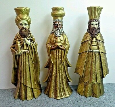 Vintage Christmas Gold Composition WISE MEN CANDLE HOLDERS, Japan