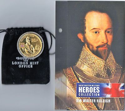 2010 Great British Military Heroes  - Sir Walter Raleigh Golden Crown Coin + Coa