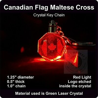 Canadian Maltese Cross Firefighter Key Chain Neon Crystal FD Fire Dept Badge D19