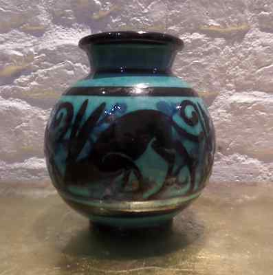 Rare Art Deco French Studio Pottery Vase Signed Jacquet