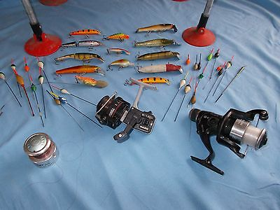 Fishing gear. Padded seat box, Mitchell 4420 reel, lures and floats.