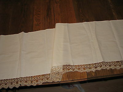 long antique sofa table runner with exquisite tatting lace edges_beautiful!