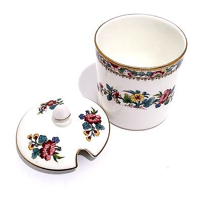 Coalport Ming Rose Bone China Covered Jam Jar w Lid Pot England Condiment Server