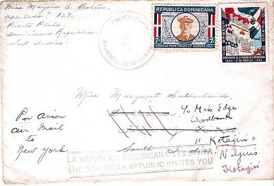 1947 Dominican Republic envelope to Southern India and re-directed on arrival