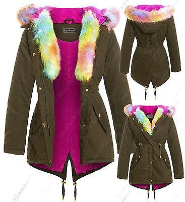 NEW FUR CANVAS PARKA GIRLS JACKET COAT HOODED Padded AGE 7 8 9 10 11 12 13 Multi