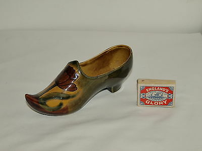ART NOUVEAU HAND PAINTED POTTERY LADIES SHOE c1900   7 inches long 3 inches high