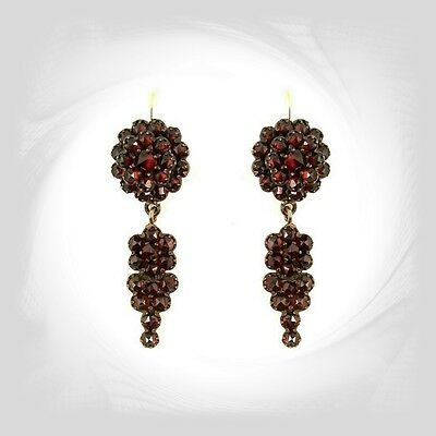 Vintage garnet earrings w/14ct gold wires and vinegrapes pendant|| ГРАНАТ WPK
