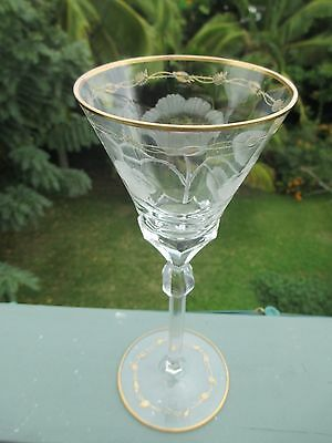 "Gilded Crystal Moser Paula Rose Cut Wine Water Glass Stemware 8oz 10.25"" 7"