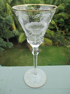 "Gilded Crystal Moser Paula Rose Cut Wine Water Glass Stemware 8oz 10.25"" 8"